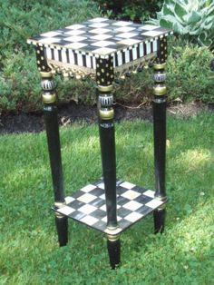 Hand Painted Black and White Accent Side Table