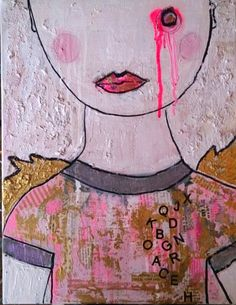 """Poet, Priest of Nothing, Lorette C Luzajic, 16x20"""", mixed media on canvas. $250. www.ideafountain.ca"""