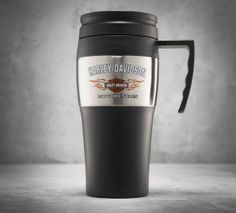 Keep your coffee as hot as your love with a thoughtful gift they'll use everyday. | Harley-Davidson Bar & Shield Logo with Flames Travel Mug