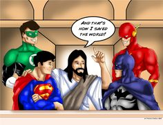 A friend of mine John Vincent JV-Ritche Melendez-Lazaro ask me to draw Jesus talking to The DC Heroes. He's going to use it in an upcoming Youth Retreat. Jesus talking to The DC Heroes Bible Heroes, Dc Heroes, Hero Central Vbs, Vacation Bible School, Kids Church, Church Ideas, Superhero Party, Superhero Ideas, Superhero Room