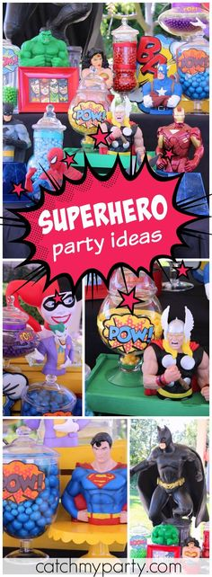 What a fun and colorful superhero vs. villains birthday party! See more party ideas at Catchmyparty.com!