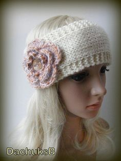 Ivory Hand Knitted Headband With Crochet Flower In by dachuksb7196, $12.00