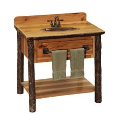 Fireside Lodge Furniture 83750-RM Hickory Open Shelf Vanity without Top | ATG Stores