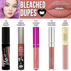 Lime Crime Bleached Velvetine Liquid Lipstick Dupes - All In The Blush Velour Liquid Lipstick, Lipstick Dupes, Lipsticks, Matte Lipstick, Makeup Brands, Drugstore Makeup, Makeup Products, Beauty Products, Lime Crime Bleached