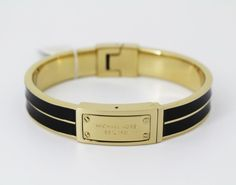 Michael Kors Gold-Tone Black Enamel Logo Plaque Bangle Bracelet #MichaelKors #Bangle