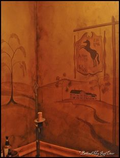 Rufus Porter inspired primitive/ colonial wall mural