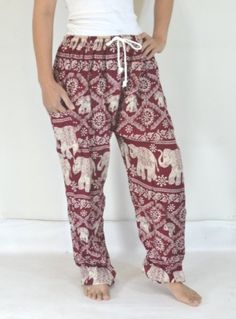 Hey, I found this really awesome Etsy listing at https://www.etsy.com/listing/177542323/elephant-yoga-pants-dark-red-colorharem