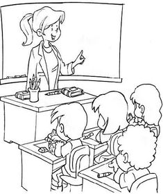 Teacher Coloring Book Pages - Teacher cartoon coloring pages Cartoon Coloring Pages, Coloring Book Pages, Human Drawing, Drawing S, Kindergarten Coloring Pages, Children's Book Characters, Art Folder, Kids Story Books, Cartoon Design