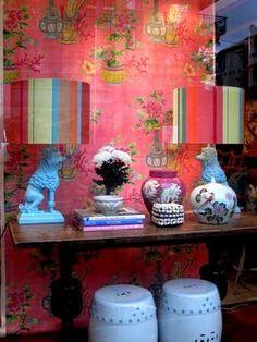 A vignette in Anna Spiro's gorgeous, color-filled store Black + Spiro, located in Australia.