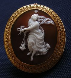 Antique Cameo - Nyx, The Goddess of the Night c.1850    Italy