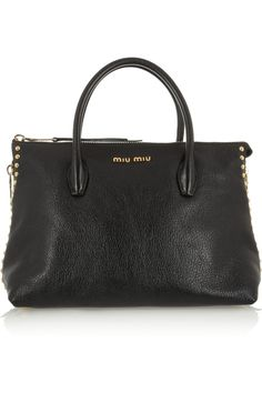 Miu Miu|Shopping studded textured-leather tote