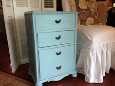 VINTAGE Charming blue SHABBY CHIC night stand end by TwoWhimsies
