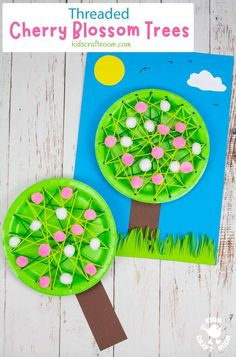 Make a pretty Laced Paper Plate Cherry Blossom Tree Craft. A lovely spring craft to introduce kids to sewing and develop fine motor skills. An educational paper plate craft that looks gorgeous. #kidscraftroom #kidscrafts #springcrafts #blossom #cherryblossom #paperplatecrafts #preschoolcrafts #finemotorskills
