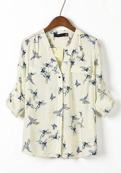 White Butterfly Print V-neck Long Sleeve Chiffon Blouse