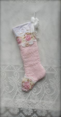 Pink Chenille Christmas Stocking Vintage Shabby by paintedquilts, sold