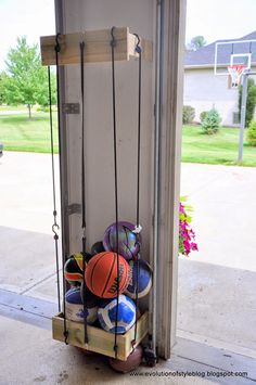 garage storage ball holder garage ball storage home design ideas and pictures ru – Garage Organization DIY Garage House, Diy Garage, Garage Storage, Storage Racks, Garage Doors, Shed Storage, Toy Storage, Ball Storage, Home Decoracion