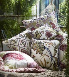 Rainforest Cam 1 Prestigious Textiles, Fabric Houses, Carnations, Comforters, Throw Pillows, Blanket, Bed, Palette, Fabrics