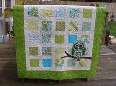owl baby quilt | Owl on Branch WindowPane Quilt Baby Child Coverlet by SheBeDesigns