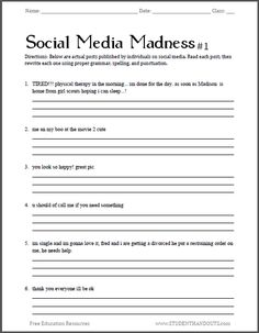 Social Media Madness Grammar Worksheet #1 | Free worksheet for high school students (PDF file). Have hilarious fun correcting actual social media posts for spelling, punctuation, and grammar.