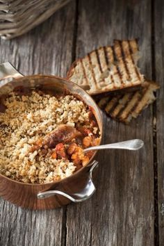 Cassoulet with Lamb & Rosemary Sausage, Toulouse Saucisson and Crunchy Breadcrumbs made with NoMU Lamb Fond Lamb Recipes, Sausage Recipes, Cooking Recipes, Whole Roasted Cauliflower, Chocolate Souffle, South African Recipes, Bread Crumbs, Winter Food, Food Photography