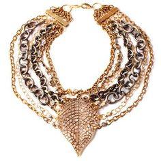 DENISE MANNING:Multi Chain Leaf Necklace £475 @gift-library.com #necklace #denisemanning