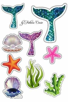Under the sea cake toppers Sea creatures printable topper Nautical cupcake toppers Sea animals baby birthday Under the sea party - DIGITAL