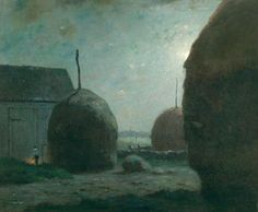 Dwight William Tryon  Newbury Haystacks in Moonlight, ca. 1887  (Oil on canvas, 25 x 30 inches)  Spanierman Gallery, NYC ============== Click to view full size image