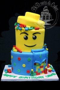 Lego birthday cake with edible Legos!