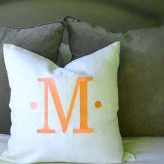 Orange monograms, so pretty!  #monogram #newportbeach #weekend #preppy #preppystyle #kidsroom #pillow #pillowtalk #pillows #southernliving #coastalliving #beachhouse #giftideas #traditionalhome #onekingslane