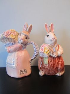 Fitz & Floyd Cream/Sugar Rabbits Bunny Easter by CuriousCatVintage, $29.00