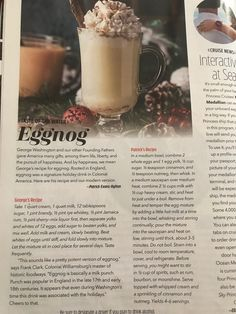 Plus a modernized version George Washington Eggnog Recipe, Virginia Is For Lovers, Princess Cruises, Beverages, Drinks, Winter Holidays, Candle Jars, Tableware, Sweet