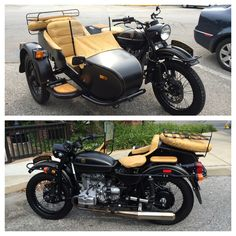 Flat black Ural motorcycle with sidecar. Want!