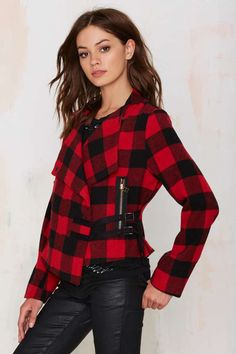 Bloody Hell Plaid Drape Jacket - Jackets