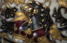 Detail of arms on vellum with 23.5 carat gold