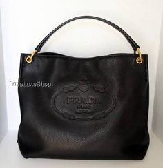 Prada Vitello Daino Black Deerskin Leather Logo Hobo Shoulder Bag Purse | eBay
