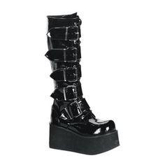 0f8a9464972 Demonia Trashville 518 Unisex Black Patent Lace-Up Platform Knee Boots with  Buckle Up Straps - Demonia Mens Unisex Platform Shoes and Boots - Demonia  ...