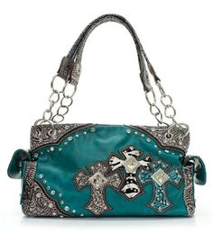 Handbags, Bling & More! Turquoise Western Style Triple Cross with Diamonds Purse Conceal Purse : Conceal and Carry Purses Soft Leather Handbags, Trendy Handbags, Purses And Handbags, Cowgirl Style, Western Style, Country Style, Concealed Carry Purse, Cute Purses, The Ordinary