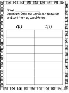 5 letter words ending in aw special sounds word study lists aw au oy ou ow 16326