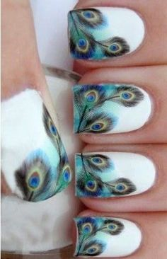 5 Awesome Feather Nail Art Peacock Design for 2019 : Check them out! Peacock Nail Art, Feather Nail Art, Red Nail Art, Nail Art Diy, Cool Nail Art, Peacock Design, Acrylic Nail Designs, Nail Art Designs, Lee Nails