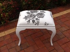 Painted this vintage beauty & reupholstered the seat, painted with Blake & Taylor pure white, www.facebook.com/Jomarievintagefurniture