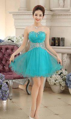 Turquoise Empire Waisted Short Prom Dresses  KSP461