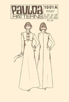 Vintage Pauloa 1001A Sewing Pattern Misses Maxi Length Mandarin Collar Muu Muu with Frog Closure Loungewear sz 6 Thru 18 Uncut  A-Line muumuu with placket, mandarin collar and tapering band sleeve. Frog closing and optional mid-back zipper. ----------------------------------- Pattern Co: Pauloa Date: 1970s-1980s Size: Misses 6, 10, 14, 18 (see back for measurements)   Condition of Pattern: Uncut in factory folds with instructions included. Condition of Envelope: Good with some wear…