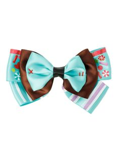 Hair bow with a Vanellope von Schweetz cosplay design.
