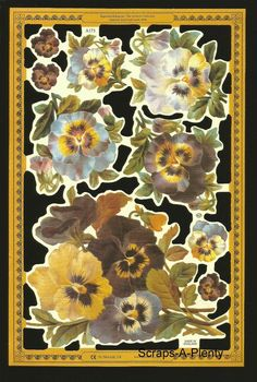 Mamelok English Scrap Die Cut-  Purple Pansies / Flowers  (Archives Coll.) A173