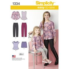 Child's and girls' sportswear pattern includes peplum top with option of sleeveless, three-quarter or short sleeves with Peter Pan collar and decorative buttons, skirt and pants with elastic waist. Simplicity sewing pattern from Designs by Karen Z.