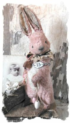 Antique Style ★ Vintage Postcard RABBIT STANDING PiNK & CReaM Hare ★Whendi Bears