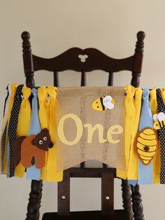 Honey bear banner with a cute brown bear, two little bees and a beehive design makes cute high chair one banner for birthday decoration Beehive Design, Burlap Flag, 1st Birthday Decorations, Honey Bear, Hunts, Brown Bear, Twine, Happy Shopping, Bees