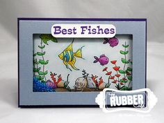 Best Fishes Shaker Card by stampwithkristine - Cards and Paper Crafts at Splitcoaststampers Step Cards, Diy Cards, Shaker Cards, Lawn Fawn, Copic Markers, Card Designs, Cardmaking, Card Stock, Card Ideas