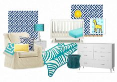 navy and turquoise gender neutral nursery