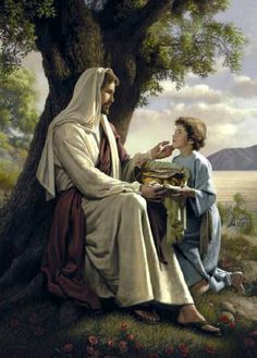 """Christ and the boy with loaves and fishes.  """"He Will Make It More"""" by Simon Dewey"""